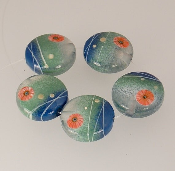 Handmade Lampwork Beads - MOSS and  BLUE Sprees