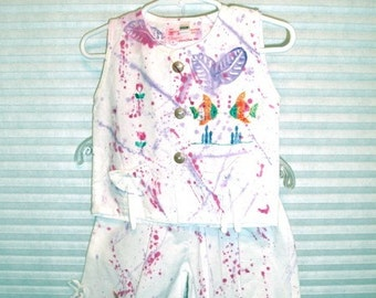 Hand painted and hand embroidered Capri set