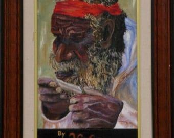 Aboriginie rolling a smoke