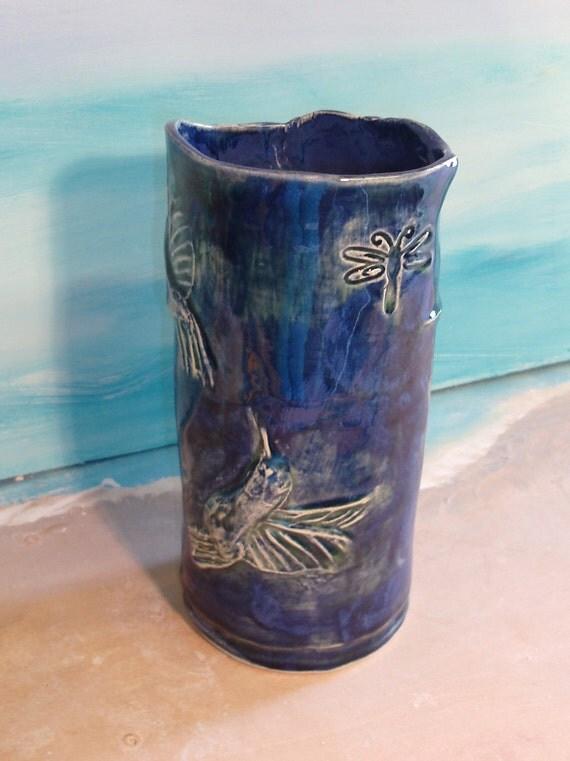 Blue Hummingbird Vase or wine chiller