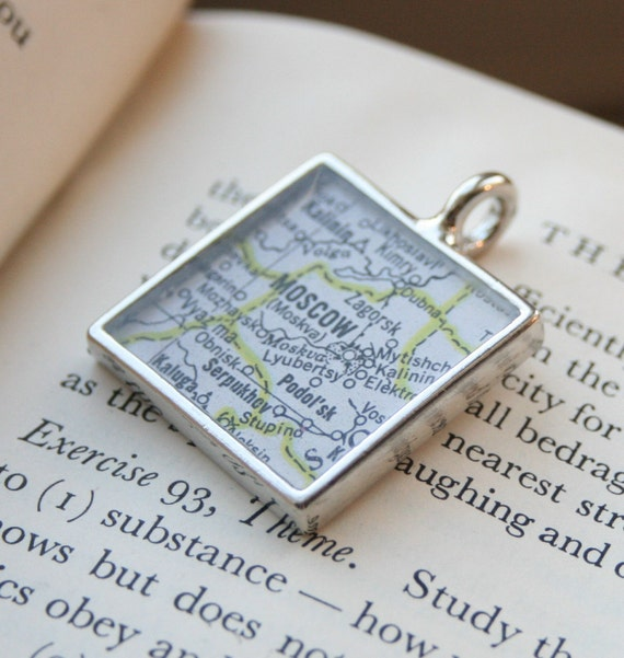 MOSCOW Soviet Union\/Russian Federation Map Pendant in Silver