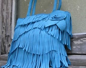Italian Calf Suede Turquoise Blue Leather Fringe Bag by Stacy Leigh  Made to Order