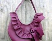 RESERVED for GFelted Wilde Plum Natural Edge Asymetrical Ruffle Bag in Violet Leather by Stacy Leigh Ready to Ship ON SALE