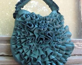 Leather Rosette Ruffle Bag in Teal Blue by Stacy Leigh Ready to Ship