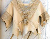 Women's Leather Jacket with French Lace in Rustic Victorian Style Size Medium by Stacy Leigh RESERVED for Kathy (final payment)