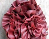 Burgundy Distressed Leather Rosette Ruffle Bag by Stacy Leigh Ready to Ship
