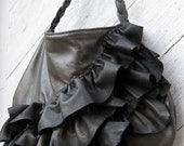 RESERVED for IVY Leather Bag with Natural Edge Distressed Ruffles in Dark Pearl Gray Leather by Stacy Leigh Ready to Ship SALE