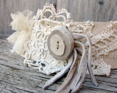 Leather and Lace Cuff in Ivory Leather 6.5 Inch Size by Stacy Leigh RESERVED for Mickie