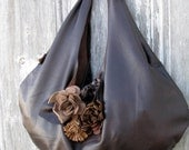 Dark Brown Leather Slouchy Hobo Bag with Flowers and Natural Edges by Stacy Leigh Ready to Ship