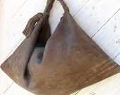 Slouchy Leather Hobo in Olive Brown Distressed Leather by Stacy Leigh Ready to Ship