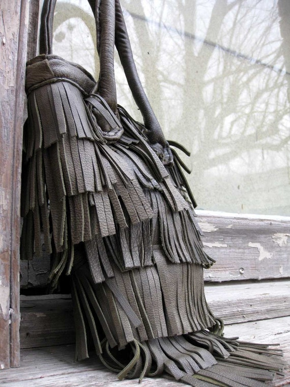 Olive Green Fringe Bohemian Bag with Double Handles by Stacy Leigh SALE Ready to Ship