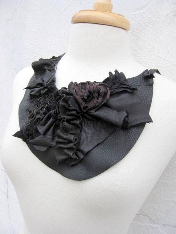 Black Leather Bib Necklace with Rosette Ruffles Victorian Beads and Natural Edges by Stacy Leigh SALE
