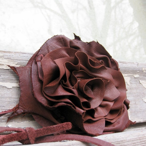 Russet Brown Deerskin Leather Oversized Natural Edge Rosette Statement Necklace with Rosette  by Stacy Leigh SALE