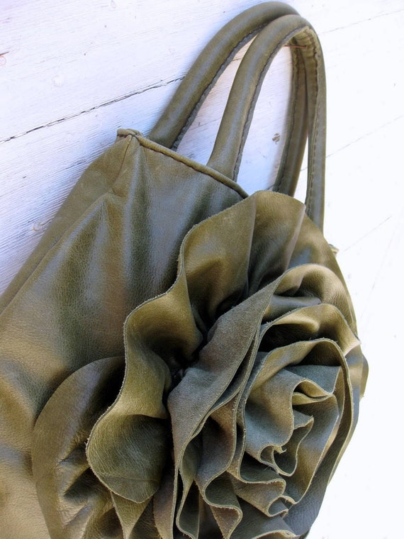 Olive Rose Leather Ruffle Bag by Stacy Leigh SALE