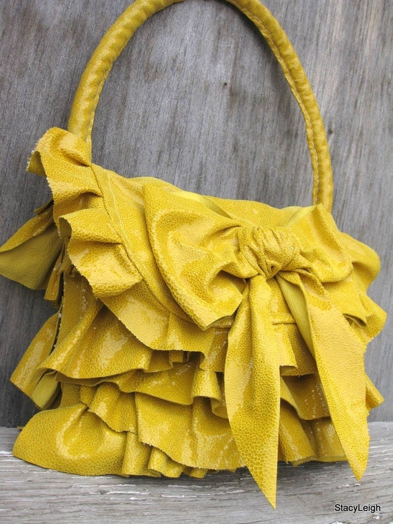 Yellow Sunshine Leather Ruffle Bag with Bow by Stacy Leigh Ready to Ship