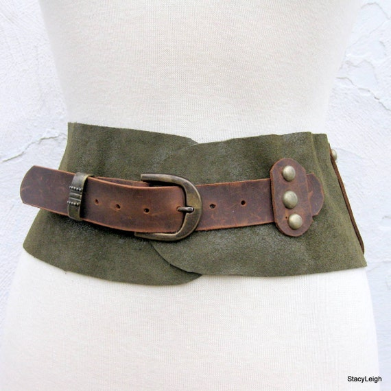 Old World Leather Belt in Hunter Green Iridescent and Oiled Cowhide with Brass Studs Size 30 RESERVED for Souixby Stacy Leigh Ready to Ship