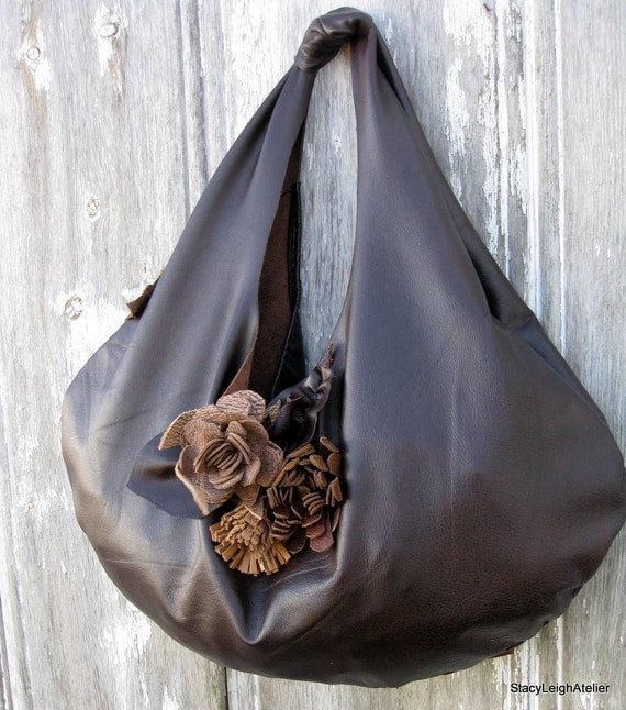 Dark Brown Leather Slouchy Hobo Bag with Flowers and Natural