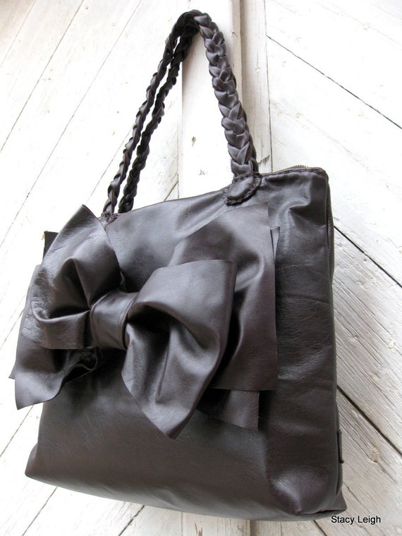 Oversized Bow Leather Tote Bag in Dark Violet Brown by Stacy Leigh Made to Order RESERVED for Michelle