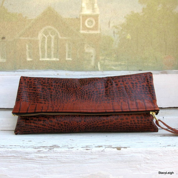 "Fold Over Leather ""Alligator"" Zipper Pouch Clutch Bag by Stacy Leigh Ready to Ship"