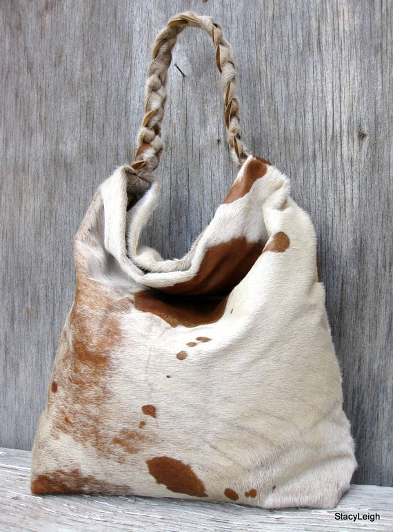 RESERVED for Amy Hair On Cowhide Leather Hobo Bag by Stacy Leigh