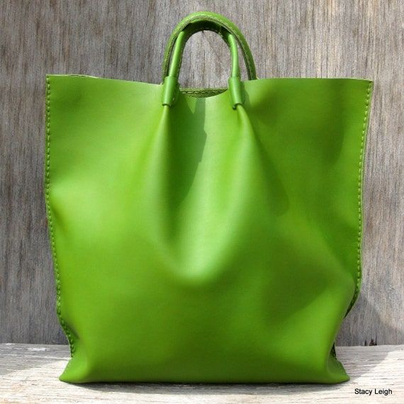 Parrot Green Leather Market Tote Bag Hand Made by Stacy Leigh Ready to Ship