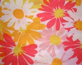 Vintage 60s\/70s MOD Op Art Floral Queen Flat Bed Sheet Fabric