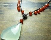 Carnelian and Chalcedony Statement Necklace | Chunky Semi Precious Necklace | Seafoam |