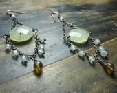SALE  Prehnite, Aquamarine, and Whiskey Quartz Earrings