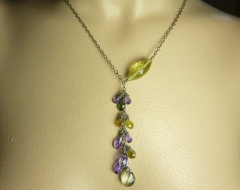 Multi Stone Drop Necklace | Semi Precious Y Necklace | Gift for Her