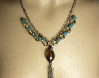 Smoky Quartz Statement Necklace Blue Jade Handmade Sterling Silver