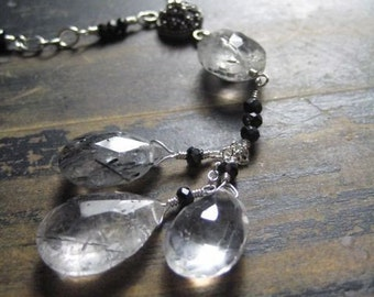 Rutilated Quartz and Black Spinel Necklace Handmade Sterling Silver