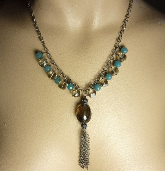 Smoky Quartz Statement Necklace Blue Jade Handmade Sterling Silver