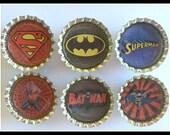 Superhero Bottlecap Magnets/Set of six