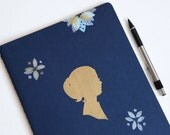SALE extra large hand printed moleskine cahiers notebook, golden girl and patchwork blossom mixed media journal (LAST ONE- discontinued)