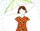 original mixed media art, april showers no. 03 (ooak)