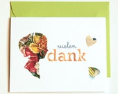 handmade thank you cards in german, vielen dank (set of 4)