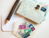 PERSONALIZED cards with handmade map envelopes and vintage postage stamps, geography lesson letter set (set of 8)