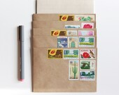 stationery set with unused vintage u.s. postage stamps, botanical garden (12 piece letter set) pre-stamped
