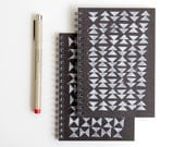 SALE hand stamped mini notebook, triangle pattern in black & white tribal arrow design (LAST ONE discontinued)