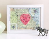 screenprinted vintage missouri map with neon pink heart, i love the midwest