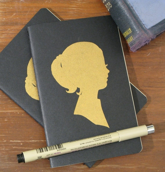 screenprinted moleskine cahiers notebook journal (ruled pages), golden girl LAST ONE