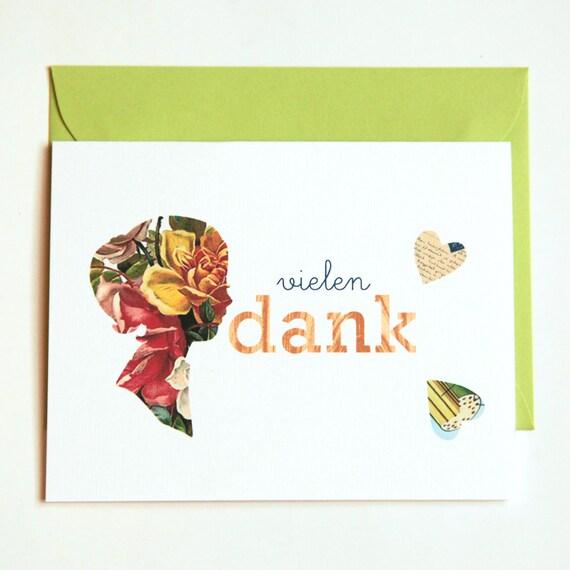 handmade thank you cards in german, vielen dank (set of 4)