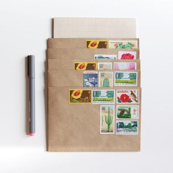 stationery set with unused vintage u.s. postage stamps, botanical garden (12 piece letter set) pre-stamped