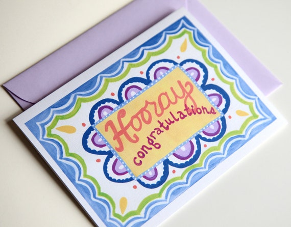 handmade greeting card, congratulations - blueberry celebration (set of 2)