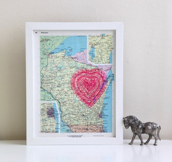 SALE vintage map of wisconsin with neon pink heart screenprint, i love the great lakes