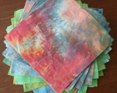 "6"" tie dye charm squares, quilt kit, hand dyed fabric set of 36"