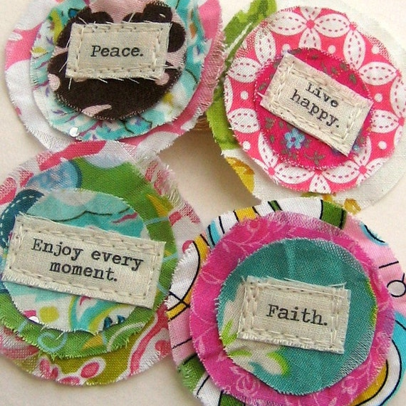 Fabric Flower Embellishments, Flower Appliques, Scrapbook Flowers,  Scrapbook Words, Scrapbook  Quotes -  Set of 4 - No. 634