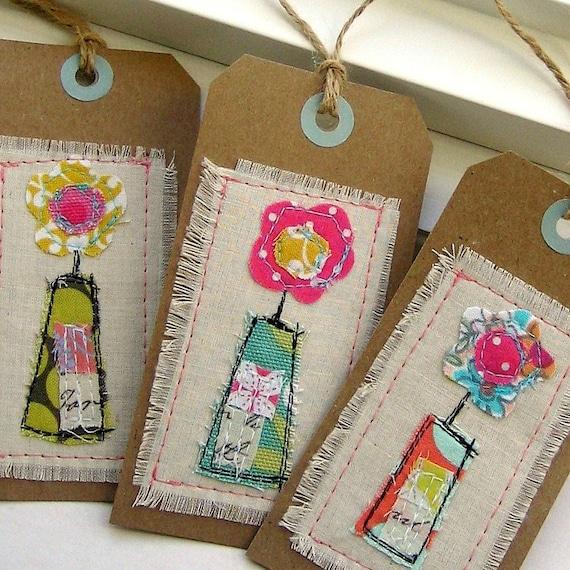 Tag Embellishments Scrapbook Tag Gift Tag Sewn Gift Tag