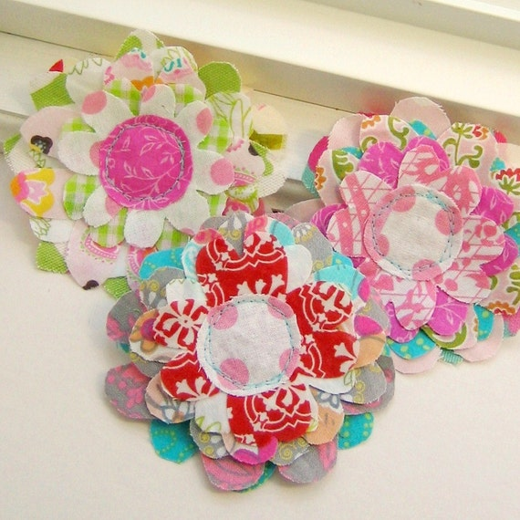 Flower Embellishments, Fabric Flowers, Fabric Embellishments, Layered Flowers, Scrapbook Flowers,  Set of 3 - No. 682