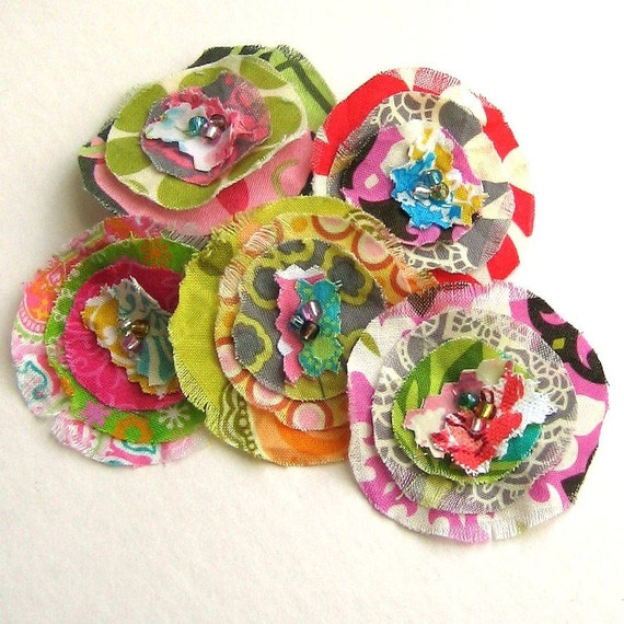 Flower Embellishments, Fabric Flowers, Fabric Embellishments, Scrapbook Flowers,  Flower Appliques, Set of 5 - No. 707